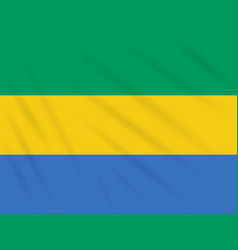 Flag gabon swaying in wind realistic vector