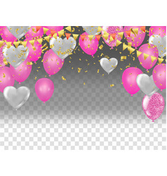 flying heart balloons vector image