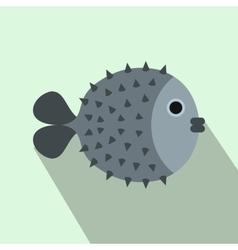 Fugu sharp fish icon flat style vector image