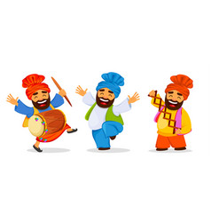 Funny dancing sikh man celebrating holiday set vector