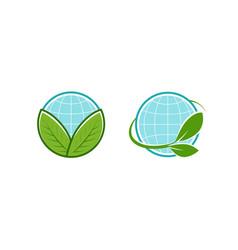 green leafs and globe logo eco natural organic vector image