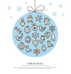 Greeting card with Christmas gingerbreads vector image