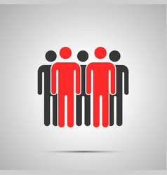 group people silhouette with two red leaders vector image