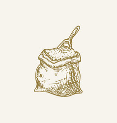 Hand drawn flour sack with a scoop sketch vector