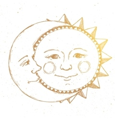 Hand drawn sun with moon vector