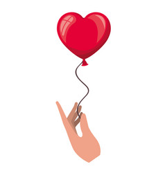hand holding heart balloon isolated icon vector image