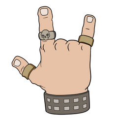 Hand in rock gesture vector