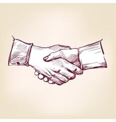Handshake hand drawn realistic vector
