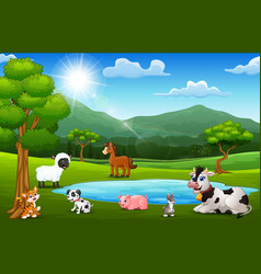 Happy animals farm playing next to small ponds wit vector