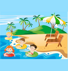 kids swimming in the ocean at daytime vector image