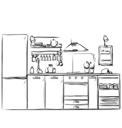 Kitchen interior drawing furniture sketch vector
