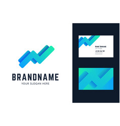 Logo and business card template with growing trend vector