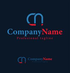 logo design template letter c n abstract monogram vector image