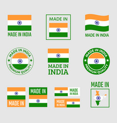 made in india icon set product labels republic vector image