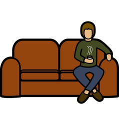 Man on a sofa vector