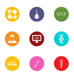 Medical surveillance icons set flat style vector