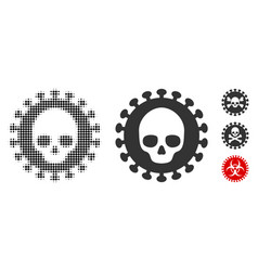 Mortal virus halftone and solid icon vector
