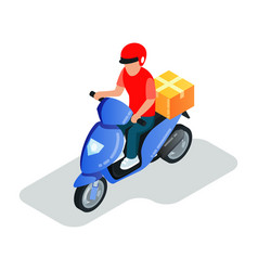 Motor scooter driver transporting parcels courier vector