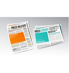 newspaper press release with headline set vector image