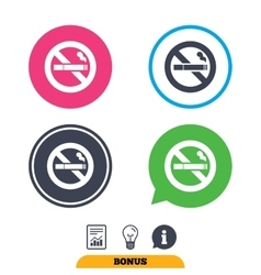 No Smoking sign icon Cigarette symbol vector image