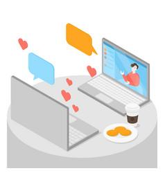 Online dating romantic coffee date vector