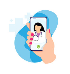 Online doctor consultation technology in vector
