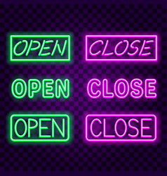 open close neon signs on dark background vector image