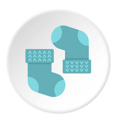 Pair of blue baby socks icon circle vector