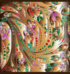 Paisley 3d seamless pattern colorful ornamental vector
