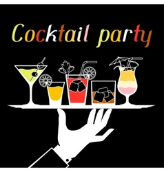 Party invitation with alcohol drinks and cocktails vector