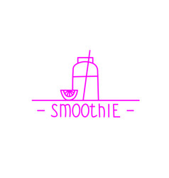 Pink smoothie - hand drawn brush text badge vector