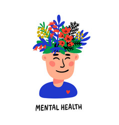 Psychology mental health man character with vector