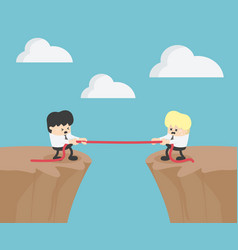 race on the high cliffs of both businessmen vector image