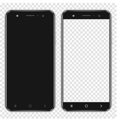 realistic smartphones with blank screen and vector image