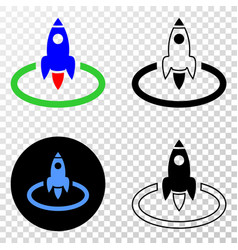 rocket start eps icon with contour version vector image