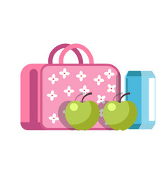School lunch in girlish briefcase with flowers and vector