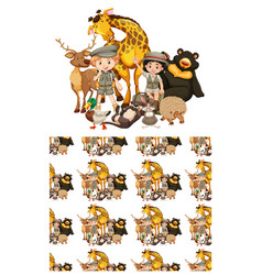 Seamless background design with kids and animals vector
