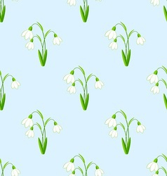 Seamless background with snowdrops flowers the vector image