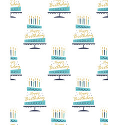 seamless pattern with hand drawn cake happy vector image