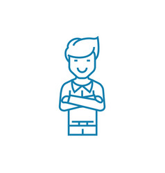 Self-satisfied man linear icon concept self vector