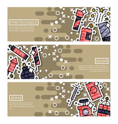 set horizontal banners about pyrotechnics vector image