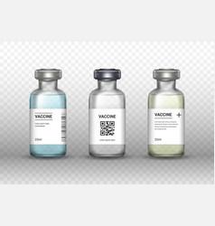 set medical vaccine bottles on transparent vector image