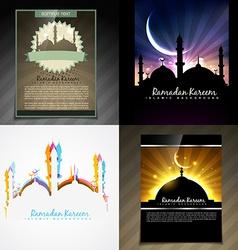 Set of attractive brochure of eid mubarak festival vector