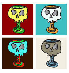 Set of skull in a vintage retro hand drawn vector