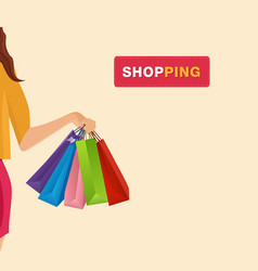 shopping hand holding shopping bags background vec vector image