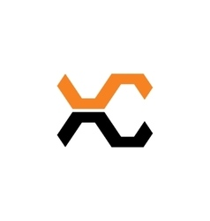 Sign of the letter X and C vector image