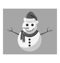 Snowman icon gray monochrome style vector image