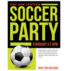 Soccer party flyer invitation vector