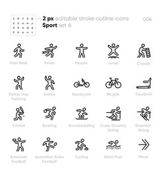 Sport outline icons crossfit handcycle vector