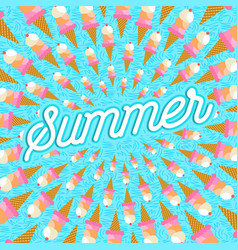 summer vacation greeting card of ice cream food vector image